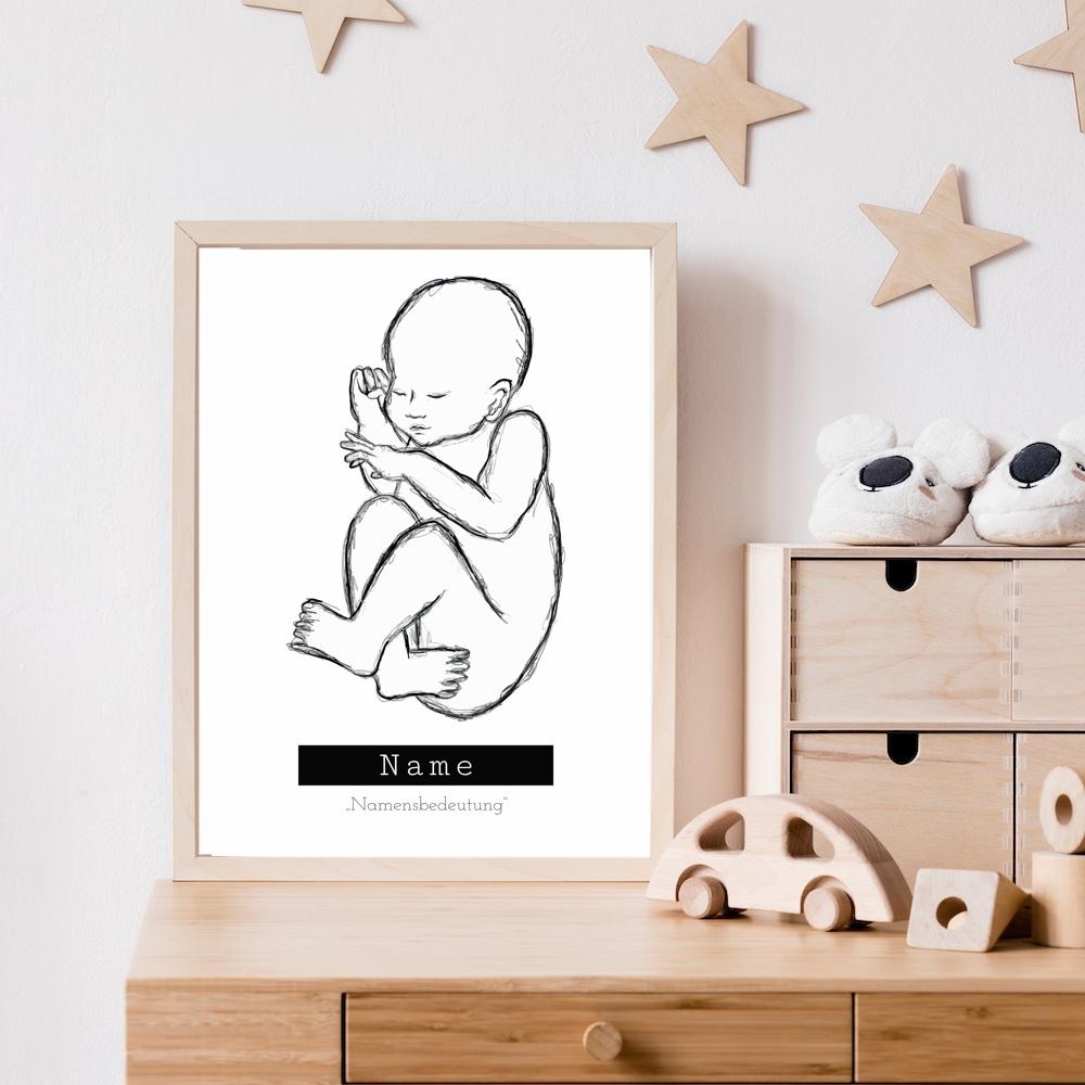 Geburtsposter Baby (A3) - Sketch #3 (Name + Freitext)