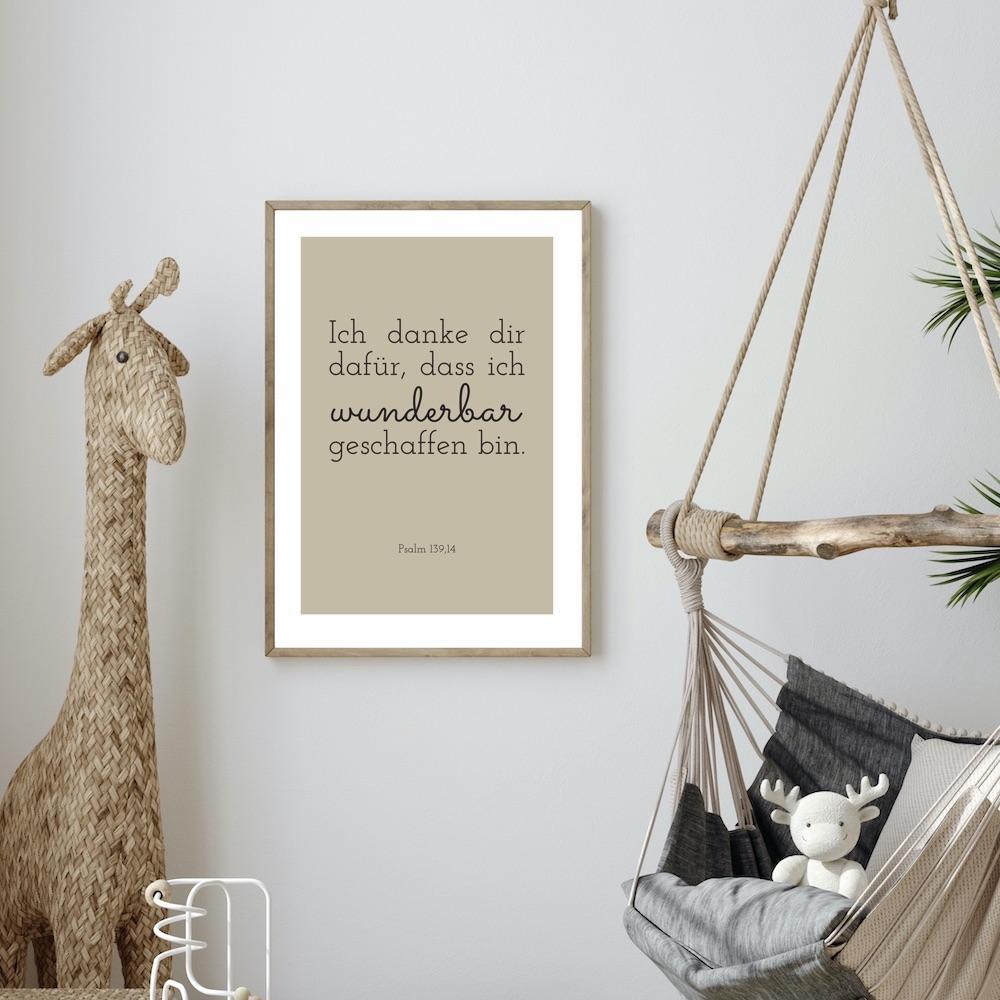 Poster Wunderbar in beige  - Psalm 139,14