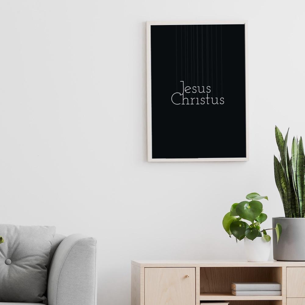 Poster Jesus Christus (Schrift: weiß)