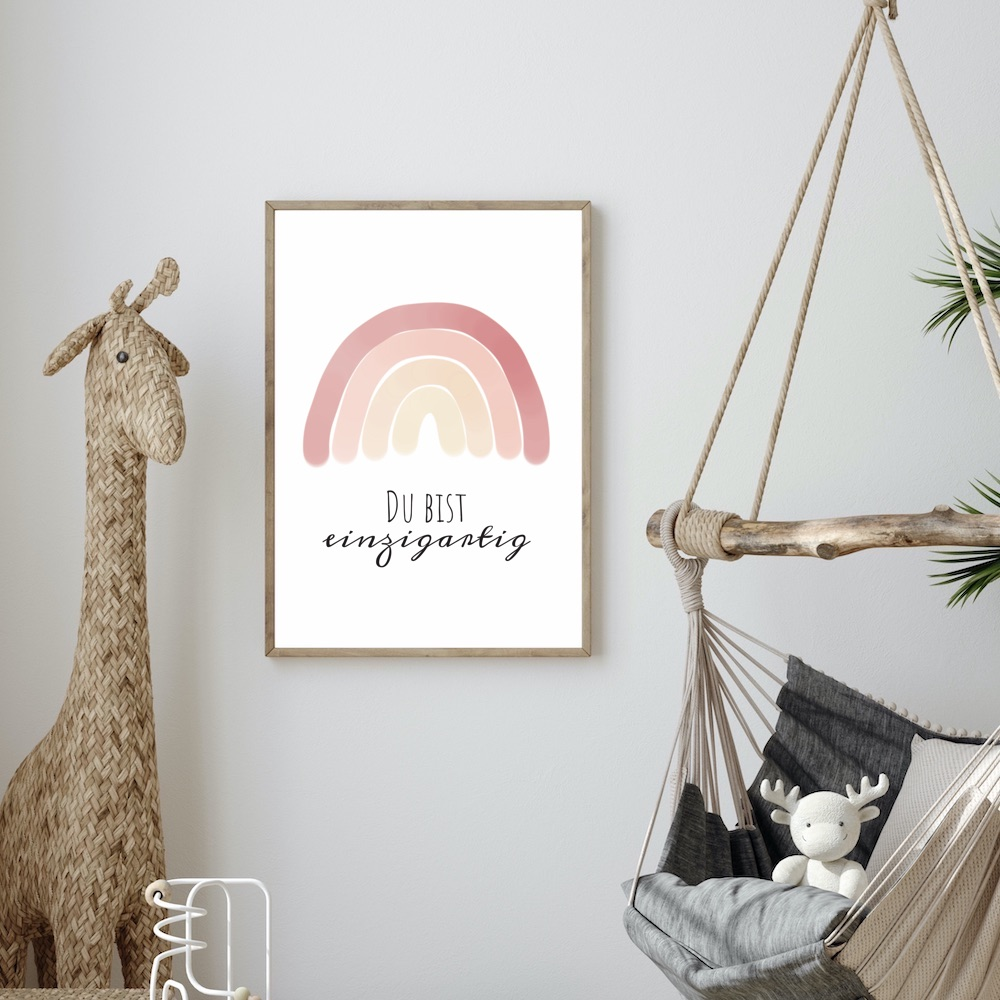 Poster A3 Du bist einzigartig - Motiv Regenbogen in rosa